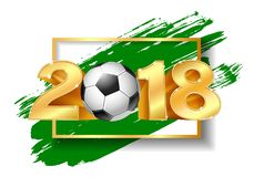 Golden Number 2018 with soccer ball. With brush green ink. Vector illustration Stock Photography