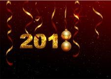 Golden 2018 number symbol new year. Holiday decoration background golden ribbon, ball, shining stars Stock Photo