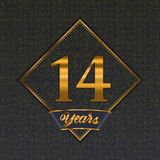 Golden number 14 templates. Golden number  fourteen years 14 years celebration design. Anniversary golden number with luxury background for your birthday party vector illustration