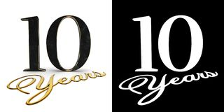 Golden number ten number 10 and the inscription years with drop shadow and alpha channel. 3D illustration.  vector illustration