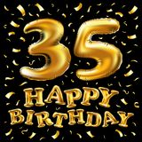 Golden number 35 thirty five metallic balloon. Party decoration golden balloons. Anniversary sign for happy holiday, celebration,. Vector happy birthday 35th Stock Images