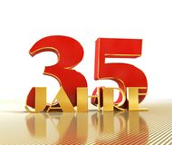 Golden number thirty five number 35 and the word. `years` against the backdrop of the prospect of gold lines. Translated from the German - years. 3D Royalty Free Stock Photos