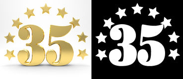 Golden number thirty five on white background with drop shadow and alpha channel , decorated with a circle of stars. Stock Photos