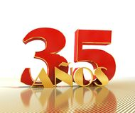 Golden number thirty five number 35 and the word. `years` against the backdrop of the prospect of gold lines. Translated from the Spanish - years. 3D Stock Photography