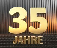 Golden number thirty five number 35 and the word. `years` against the background of metal rectangular parallelepipeds in the rays of sunset.  Translated from Stock Photos