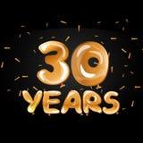 Golden number 30 thirty metallic balloon. Vector illustration Stock Image