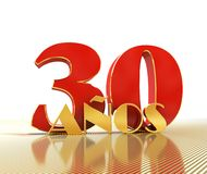 Golden number thirty number 30 and the word. `years` against the backdrop of the prospect of gold lines. Translated from the Spanish - years. 3D illustration Stock Photo