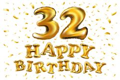 Golden number 32 thirty two of inflatable balloon isolated on white background. Vector happy birthday 32rd celebration gold balloons and golden confetti glitters Stock Image