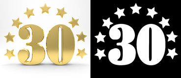 Golden number thirty on white background with drop shadow and alpha channel , decorated with a circle of stars. Royalty Free Stock Images