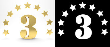 Golden number three on white background with drop shadow and alpha channel , decorated with a circle of stars. 3D illustration Royalty Free Stock Photos