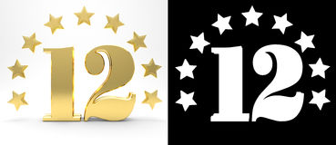 Golden number twelve on white background with drop shadow and alpha channel , decorated with a circle of stars. 3D illustration Royalty Free Stock Image