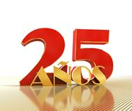 Golden number twenty five number 25 and the word. `years` against the backdrop of the prospect of gold lines. Translated from the Spanish - years. 3D Royalty Free Stock Photos