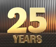 Golden number twenty five number 25 and the word years against the background of metal rectangular parallelepipeds in the rays of. Sunset. 3D illustration Stock Photo