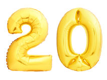 Golden number 20 twenty made of inflatable balloon Stock Photography
