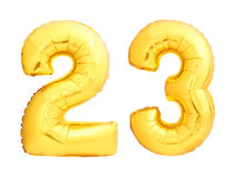 Golden number 23 twenty three made of inflatable balloon Stock Images