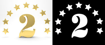 Golden number two on white background with drop shadow and alpha channel , decorated with a circle of stars. 3D illustration Royalty Free Stock Photos