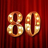 Golden number - 80. Vector illustration On the background of a red curtain Royalty Free Stock Image