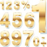 Golden numbers. Three dimensional shiny golden numbers Stock Photos
