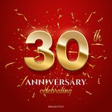 30 golden numbers and Anniversary Celebrating text with golden serpentine and confetti on red background. Vector stock images