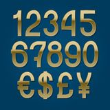 Golden numbers with currency signs of American dollar, euro, British pound, Japanese yen. Vector symbols.  royalty free illustration