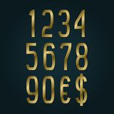 Golden numbers with currency signs of American dollar and euro. Vector symbols.  vector illustration