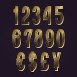Golden numbers with currency signs. Herringbone vector symbols.  stock illustration
