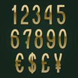 Golden numbers with currency signs. Slim vector symbols.  stock illustration