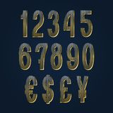 Golden numbers with currency signs. Striped vector symbols.  vector illustration