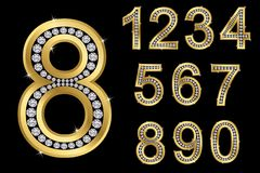 Golden numbers with diamonds, vector. Illustration vector illustration