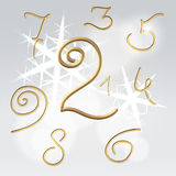 Golden numbers festive set Royalty Free Stock Image