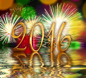 2016 golden numbers, fireworks Stock Images
