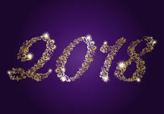 Golden numbers. 2018 Happy New Year. Shiny golden numbers. 2018 Happy New Year. Holiday banner. Festive premium design for holiday greeting card, invitation Stock Photo