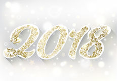 Golden numbers. 2018 Happy New Year. Shiny golden numbers. Winter and snow background. 2018 Happy New Year. Holiday banner. Festive premium design for holiday Stock Photo