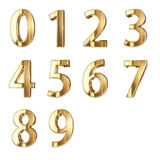 3D Golden digits on white Royalty Free Stock Images