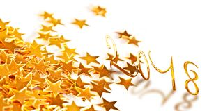 Golden numbers 2018 with little stars stock illustration