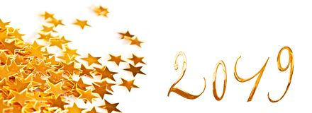 Golden numbers 2019 with little stars. On white background stock photography