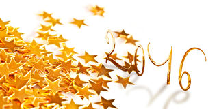 Golden numbers 2016 with little stars Royalty Free Stock Photography