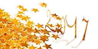 Golden numbers 2017 with little stars Royalty Free Stock Photo