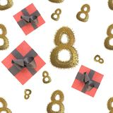 Golden 8 numbers made by city blocks and flying gift boxes isolated on bright background. Happy womans day seamless design pattern. 3d illustration Royalty Free Stock Photos