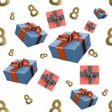 Golden 8 numbers made by city blocks and flying gift boxes isolated on bright background. Happy womans day seamless design pattern. 3d illustration Stock Photos
