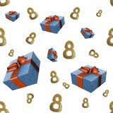 Golden 8 numbers made by city blocks and flying gift boxes isolated on bright background. Happy womans day seamless design pattern Royalty Free Stock Images