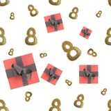 Golden 8 numbers made by city blocks and flying gift boxes isolated on bright background. Happy womans day seamless design pattern. 3d illustration Stock Images