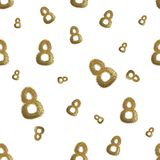 Golden 8 numbers made by city blocks isolated on bright background. Happy womans day seamless design pattern. 3d illustration.  Stock Photography