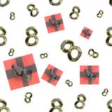 Golden 8 numbers made by fur and flying gift boxes isolated on bright background. Happy womans day seamless design pattern. 3d ill. Ustration Royalty Free Stock Photos