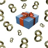 Golden 8 numbers made by fur and flying gift boxes isolated on bright background. Happy womans day seamless design pattern. 3d ill. Ustration Royalty Free Stock Photo