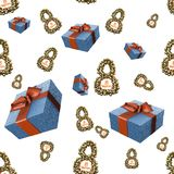 Golden 8 numbers made by spheres and flying gift boxes isolated on bright background. Happy womans day seamless design pattern. 3d. Illustration Stock Photo