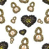 Golden 8 numbers made by spheres and flying hearts isolated on bright background. Happy womans day seamless design pattern. 3d ill. Ustration Royalty Free Stock Photo