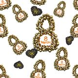 Golden 8 numbers made by spheres and flying hearts isolated on bright background. Happy womans day seamless design pattern. 3d ill. Ustration Stock Photos