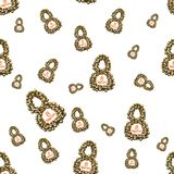 Golden 8 numbers made by spheres isolated on bright background. Happy womans day seamless design pattern. 3d illustration.  Stock Images