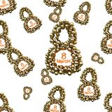 Golden 8 numbers made by spheres isolated on bright background. Happy womans day seamless design pattern. 3d illustration.  Stock Photos